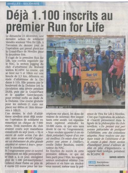 2018.12.14 La Nouvelle Gazette - Déjà 1100 Inscrits à la Run For Life